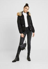 Topshop - JACK HOOD PUFFER - Winter jacket - black - 1