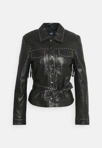 JANICE - Leather jacket - black
