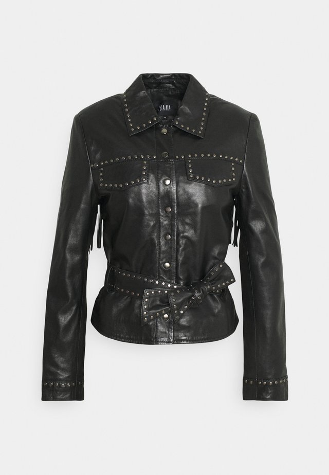 JANICE - Leather jacket - black
