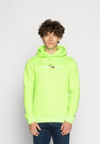 Tommy Jeans - NEON SMALL LOGO HOODIE - Huppari - green geco - 0