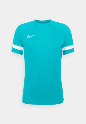 Print T-shirt - aquamarine/white