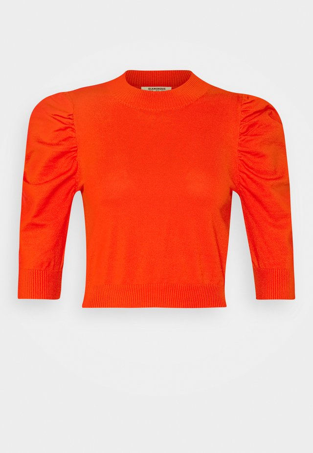 PUFF SLEEVE CROP JUMPER - Camiseta estampada - orange