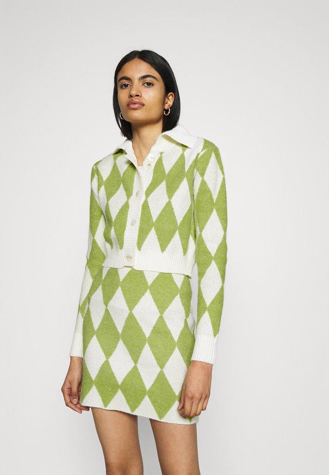 COLLAR CARDIGAN - Cardigan - green/off white