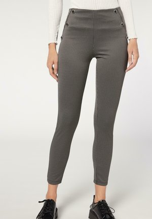 MIT HAHNENTRITTMUSTER - Leggings - Trousers - grau grey houndstooth