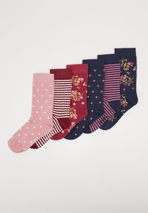KIDS SOCKS FLOWERS DOTS STRIPES 6 PACK - Socks - marone/tinte