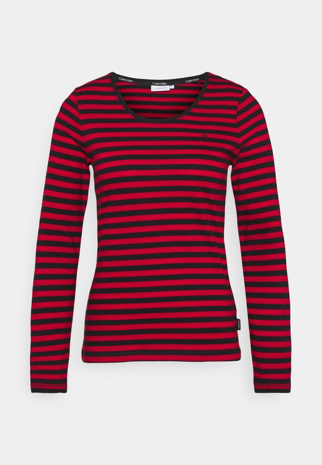 SCOOP NECK TOP - Long sleeved top - tango red/black