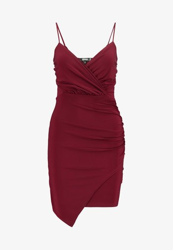 SLINKY WRAP OVER MINI DRESS - Pouzdrové šaty - burgundy