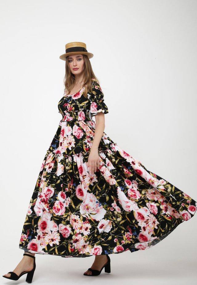 SALAMEA - Robe longue - schwarz, rosa
