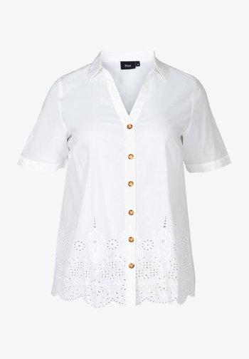 MIT LOCHSTICKEREI - Button-down blouse - white