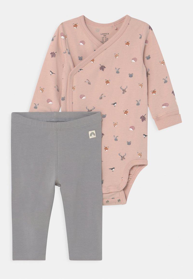 Lindex - MINI ANIMALS SET UNISEX - Leggings - Trousers - light dusty pink