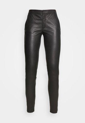 LEAH - Kožené kalhoty - black