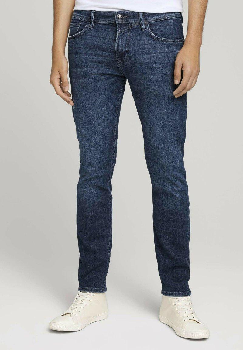 TOM TAILOR DENIM - Slim fit jeans - destroyed dark stone blue deni
