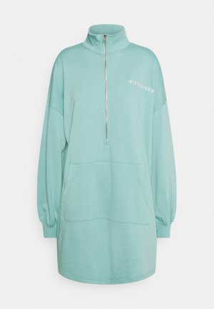 ZIP NECK OVERSIZED DRESS  - Day dress - teal