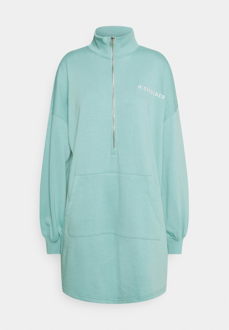 Missguided - ZIP NECK OVERSIZED DRESS  - Day dress - teal