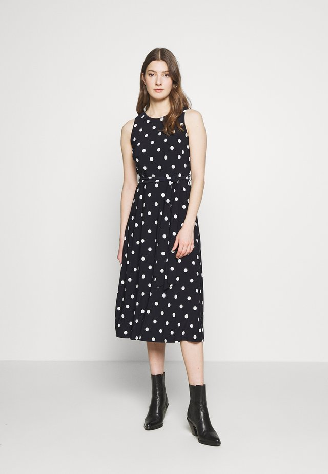 PRINTED MATTE DRESS - Jerseykjole - navy