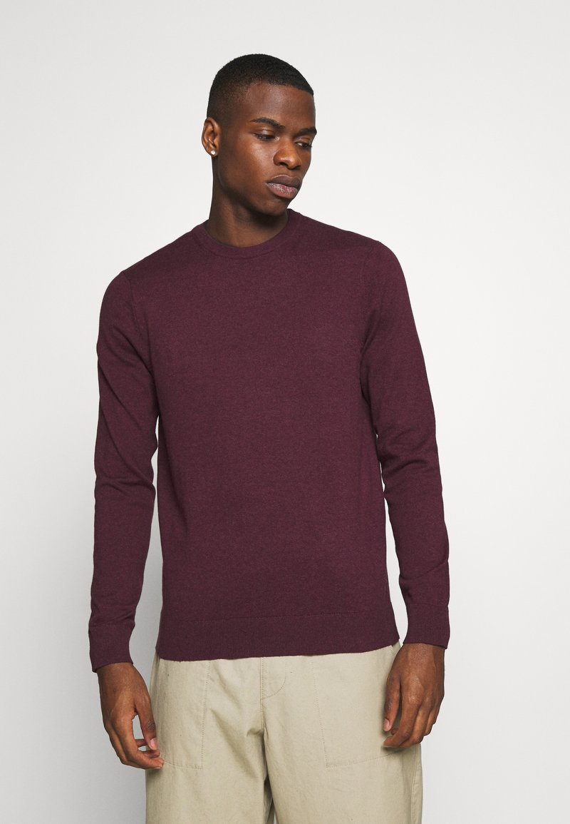 Burton Menswear London - FINE GAUGE CREW  - Maglione - burgundy