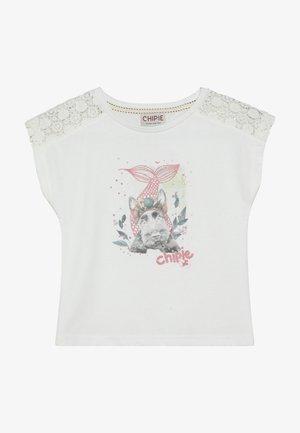TEE - T-shirt print - blanc casse
