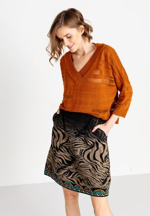 ANIMAL PATTERN - A-line skirt - black
