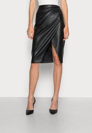 RUCHED MIDI  - Pencil skirt - black