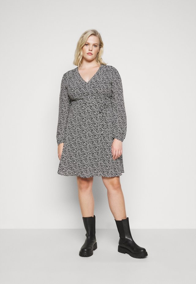 GEO PRINTED LONG SLEEVE SKATER DRESS - Day dress - black