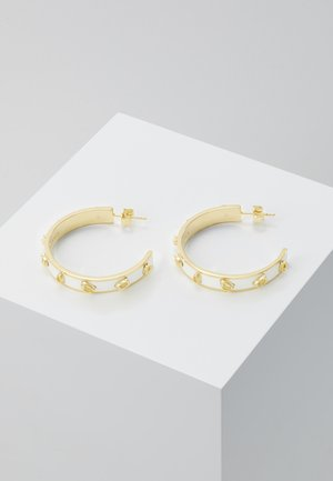 PEGGED ENAMEL HOOP - Earrings - gold-coloured/chalk