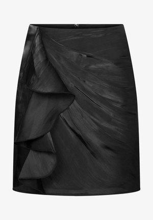 MIT RÜSCHE - A-line skirt - schwarz