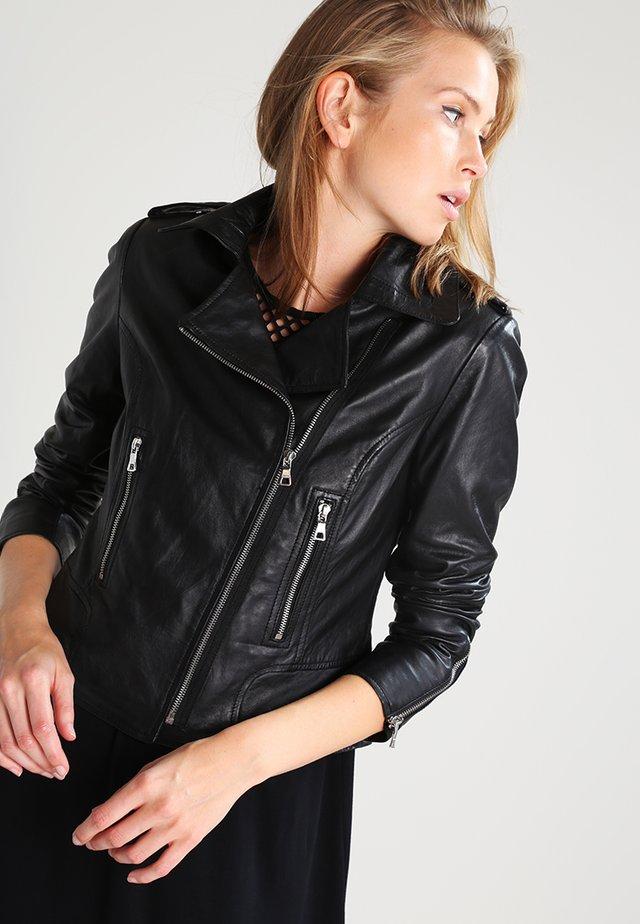 BEAR BLAZE - Kožená bunda - black/silver