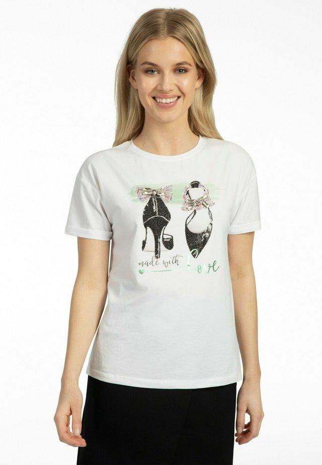 T-shirt imprimé - weiss-grün