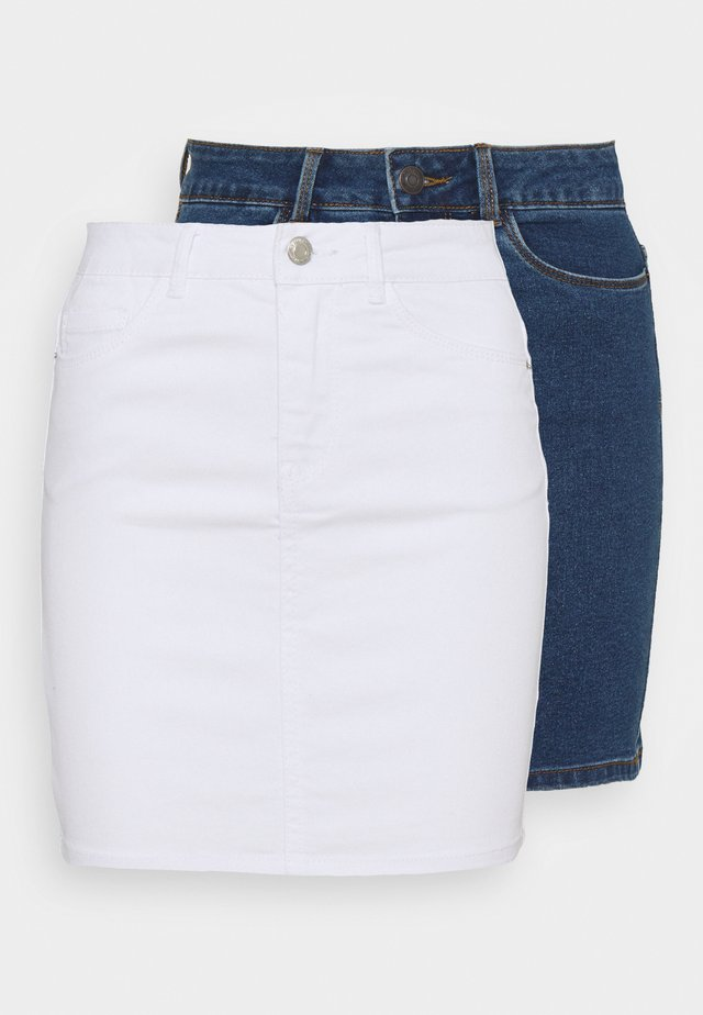 VMHOT SEVEN SKIRT 2 PACK - Minijupe - medium blue denim/bright white