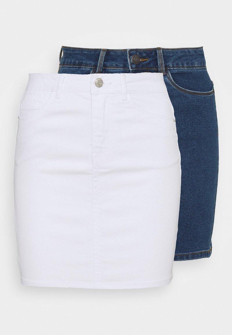 Vero Moda Petite - VMHOT SEVEN SKIRT 2 PACK - Mini skirt - medium blue denim/bright white