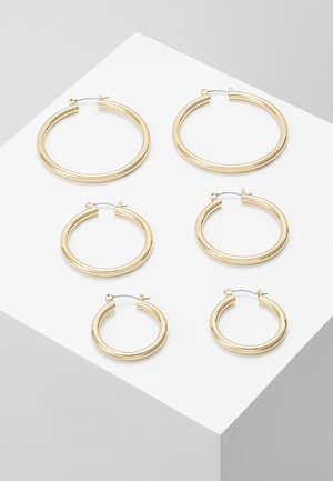 PCSELINDA EARRINGS 3 PACK - Øredobber - gold-coloured