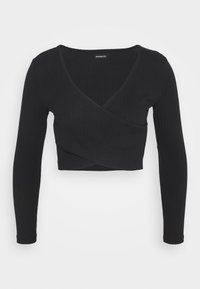 Even&Odd Petite - CROSS FRONT CROP - Langærmede T-shirts - black - 0