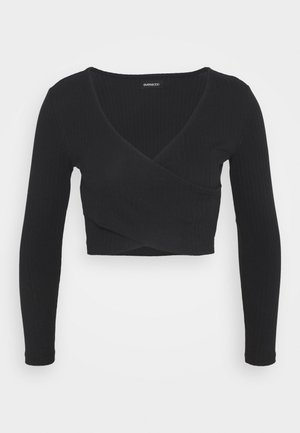 CROSS FRONT CROP - Long sleeved top - black
