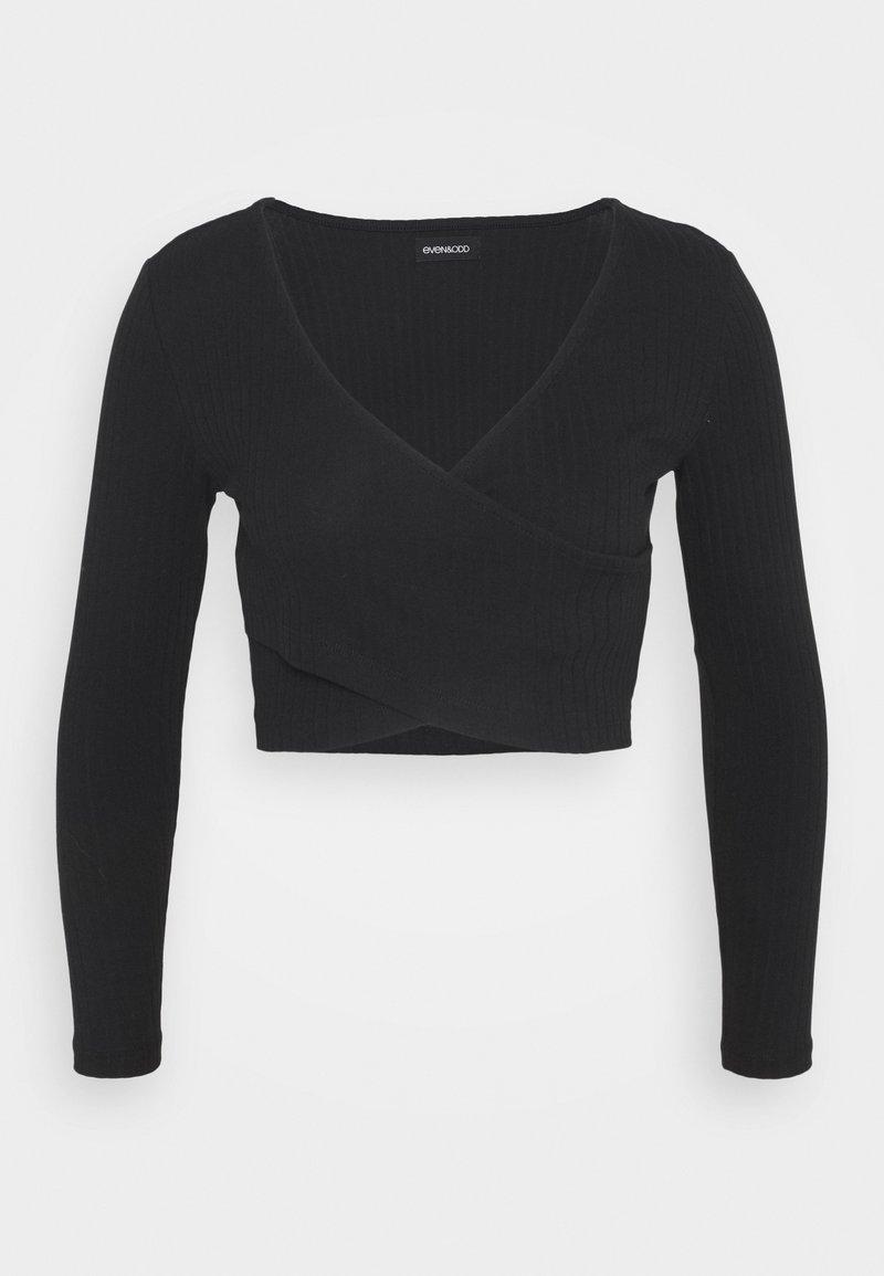 Even&Odd Petite - CROSS FRONT CROP - Langærmede T-shirts - black