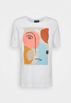 SLFABSTRACT FACE TEE - T-shirt imprimé - bright white
