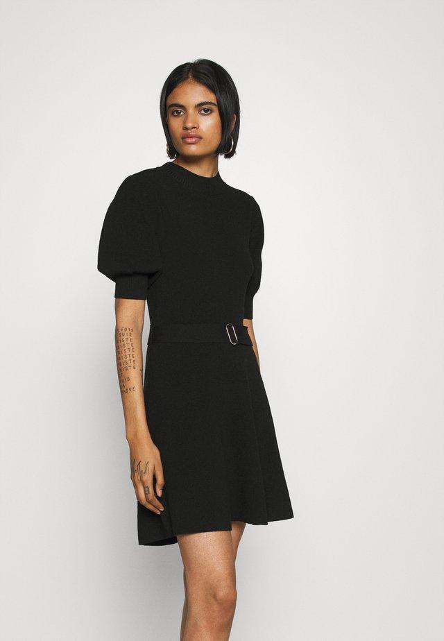 LOUISA SHORT PUFF SLEEVE DRESS - Gebreide jurk - black