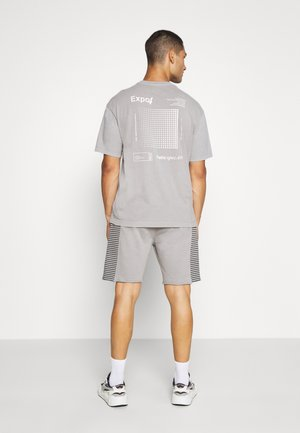 RAW EDGE STRIPE PANEL SHORT - Tracksuit bottoms - grey