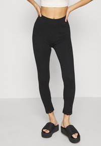 Even&Odd - High Waist Leggings with Lace Detail - Leggings - Trousers - black - 0