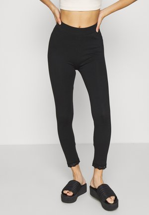 High Waist Leggings with Lace Detail - Legíny - black