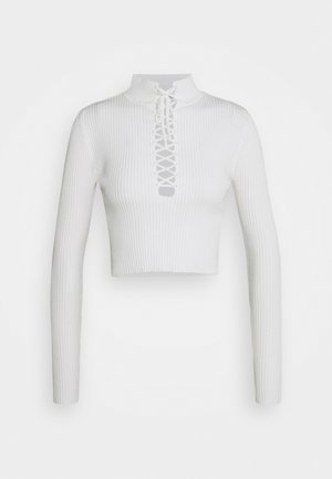 HIGH NECK LACE UP TOP - Svetr - white