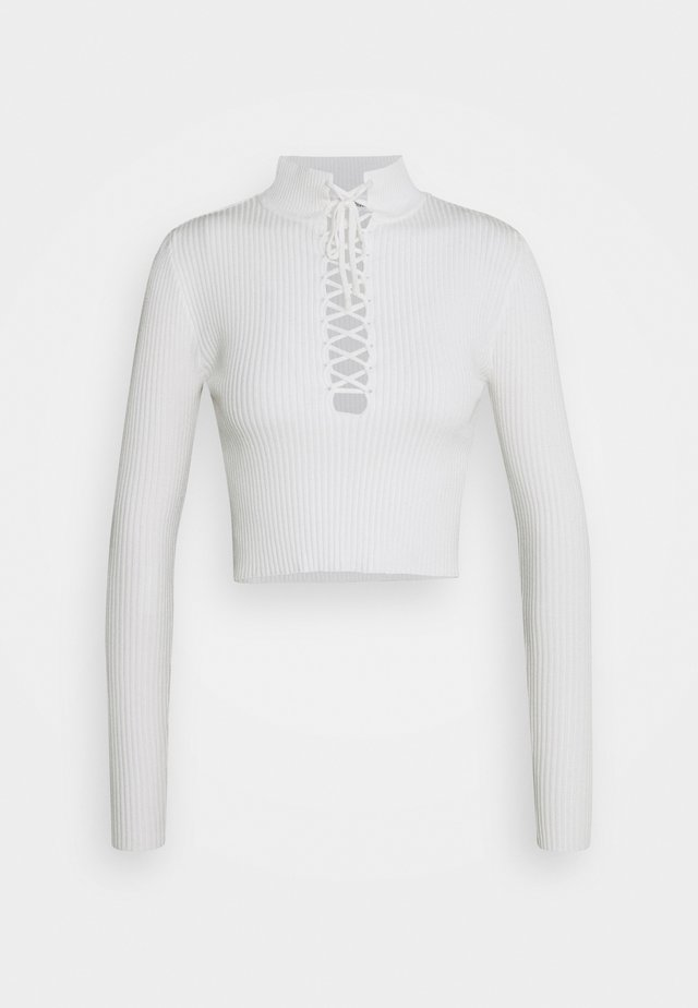HIGH NECK LACE UP TOP - Sweter - white