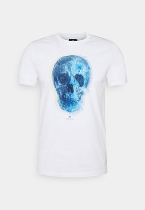 MENS SLIM FIT SKULL - Print T-shirt - white