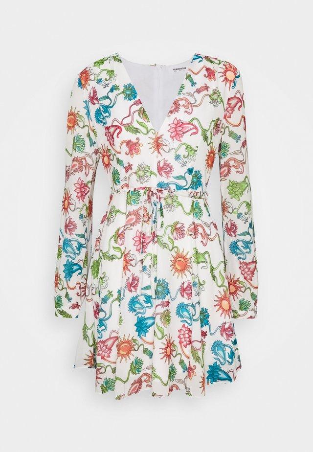 LONG SLEEVE DRESS WITH V NECK - Denní šaty - multi-coloured