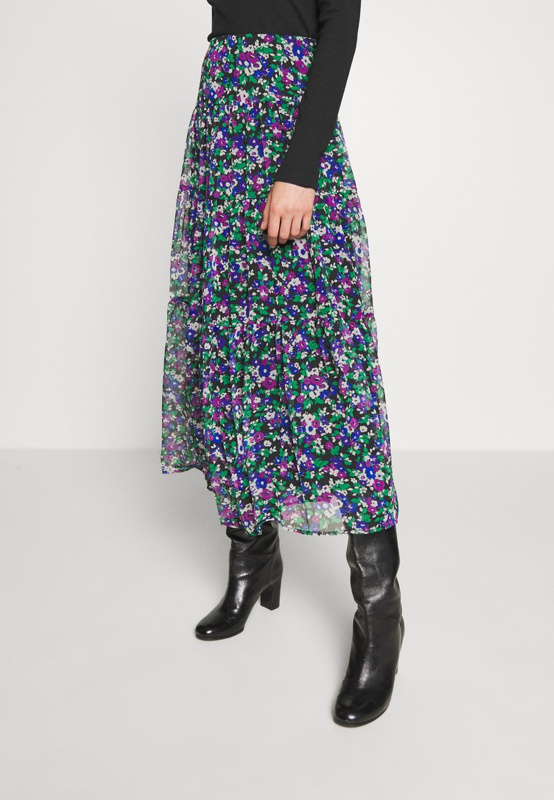 Lauren Ralph Lauren - CRINKLE SKIRT - Áčková sukně - black/multi