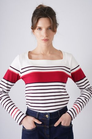 Long sleeved top - white/pink