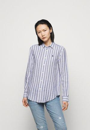 STRIPE LONG SLEEVE - Button-down blouse - white/blue