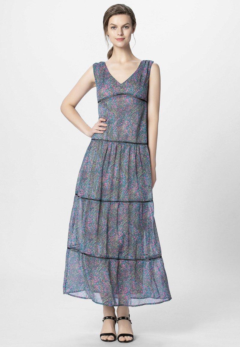 Apart - DRESS WITH VOLANTS - Maksimekko - petrol/multicolor