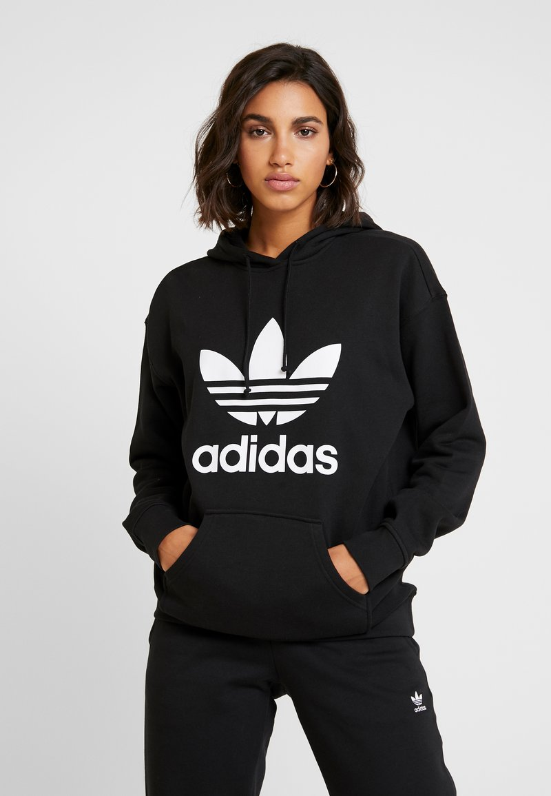 adidas Originals - ADICOLOR TREFOIL ORIGINALS HODDIE - Bluza z kapturem - black/white
