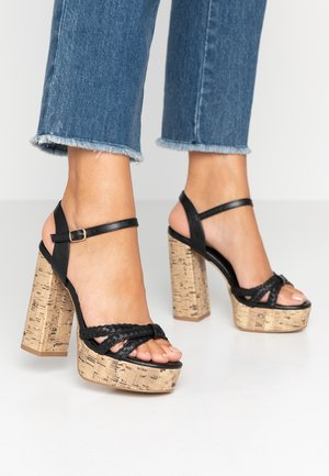 WIDE FIT PIXIE - High heeled sandals - black