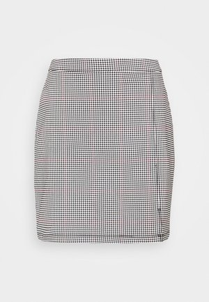 STRUCTURED PLAID MINI  - Mini skirt - black
